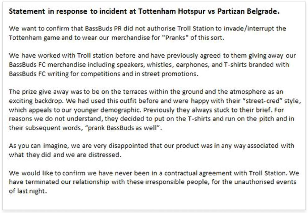 bassbuds tottenham hotspur statement