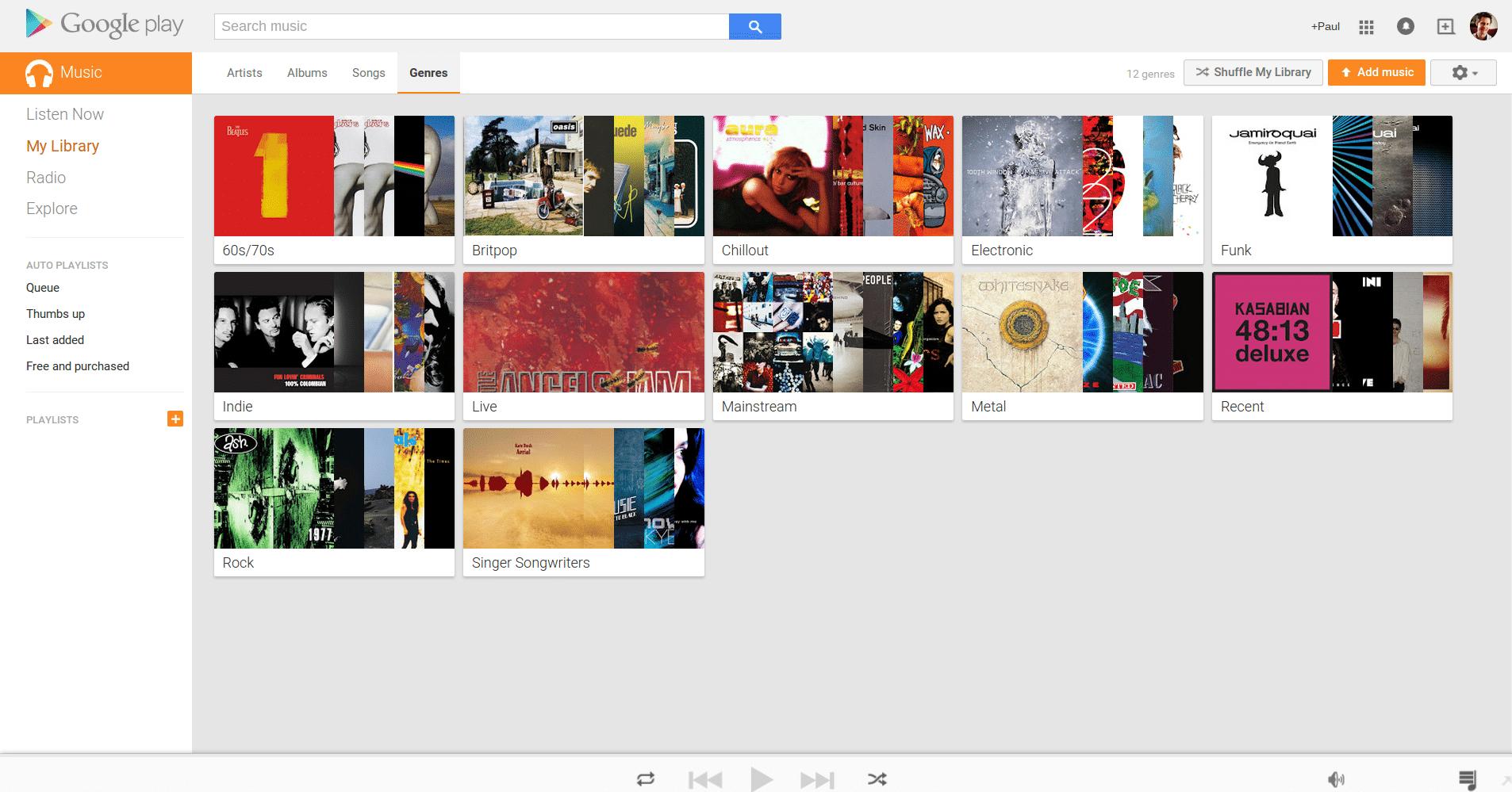 Google Play Music genre search