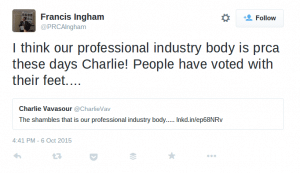 Francis Ingham tweet about CIPR Elections
