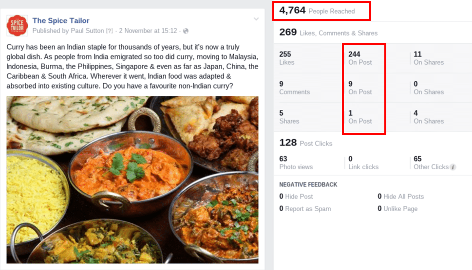 The Spice Tailor Facebook post engagement